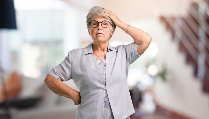 Unhappy senior woman