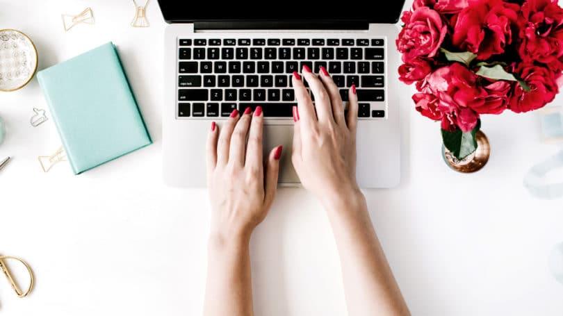 Desk Laptop Blogger Flowers Blogging