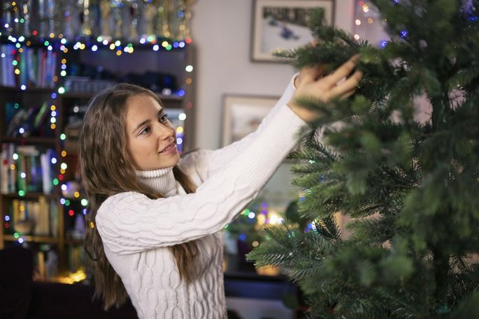 You may need to fluff your artificial Christmas tree.