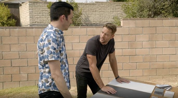 Jonathan and Hartley pick out materials for the backyard renovation.