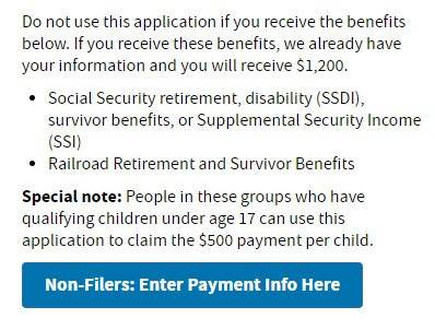 non-filers enter your payment info here for stimulus checks